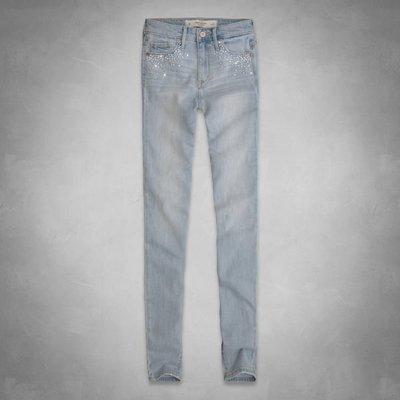 【天普小棧】A&F Abercrombie High Rise Super Skinny Jeans高腰合身牛仔長褲