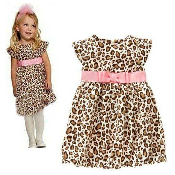 韓版《豹紋粉腰帶》甜美背心裙 洋裝 (J3-3)