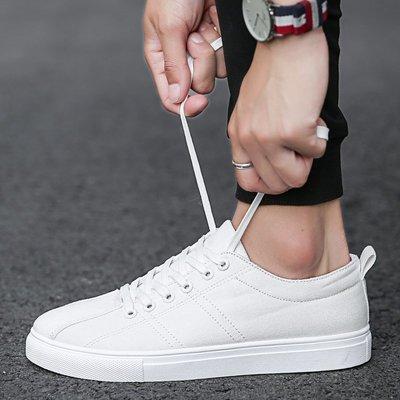 白色男鞋夏季透氣小白鞋韓版潮流百搭學生板鞋男士休閑鞋帆布潮鞋