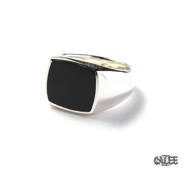 GOODFORIT /日本CALEE Resin Signet Ring 純銀復古圖章戒指