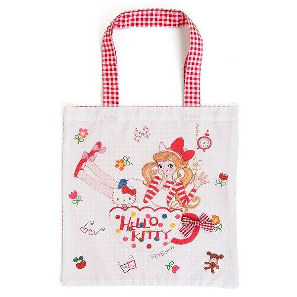 代購現貨 日本三麗鷗HELLO KITTY/美樂蒂&插畫家田村節子合作系列手提袋