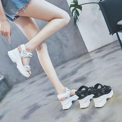 Fashion*涼鞋 ins潮港風時尚百搭網紅超火厚底運動老爹涼鞋