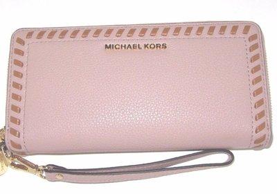 【Q比購】Michael Kors Lauryn Fawn皮革旅行歐式錢包鞭打縫合 178 全新
