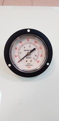 埋入式空壓表 壓力計 空壓計 空壓機壓力表 單位:BAR. 100XKPA.  160PSI