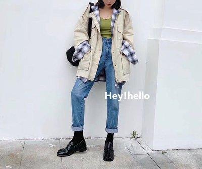 (限時.優惠-現貨)正韓假兩件式拼接中長版外套風衣夾克