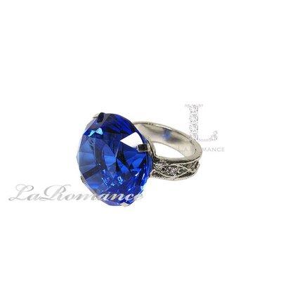 【芮洛蔓 La Romance】 3 cm 水晶鑽戒指造型餐巾環 - 寶藍色 / 情人節 / 求婚