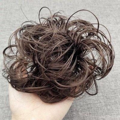 紅棕色+黑色双色混色髮圈 非主流假髮髮圈 普通絲 做盤髮造型專用 捲髮包 甜甜圈髮束