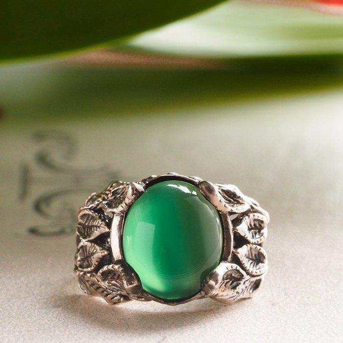 奧嘉精品工作室 Martina Olga 925純銀飾 復古手感古典葉叢綠瑪瑙寶石戒指