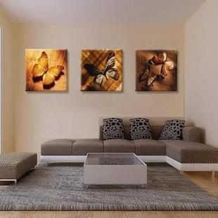 【優上精品】夢幻蝴蝶無框畫三聯現代客廳裝飾畫臥室床頭壁畫沙發掛畫家居墻畫(Z-P3257)