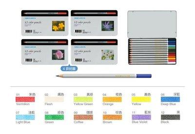 【鑫鑫文具】雄獅 C1200 12色塗頭色筆鐵盒 色鉛筆~78元