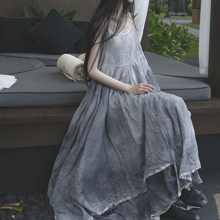 *菇涼家*新款 夏不规则雙層大摆扎染连衣裙