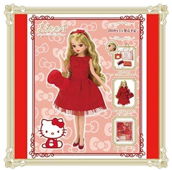 AQI BUY 凱蒂貓 Hello Kitty x 莉卡娃娃 Licca 時尚紅 聯名限定款 玩偶 玩具 擺飾 日本正版