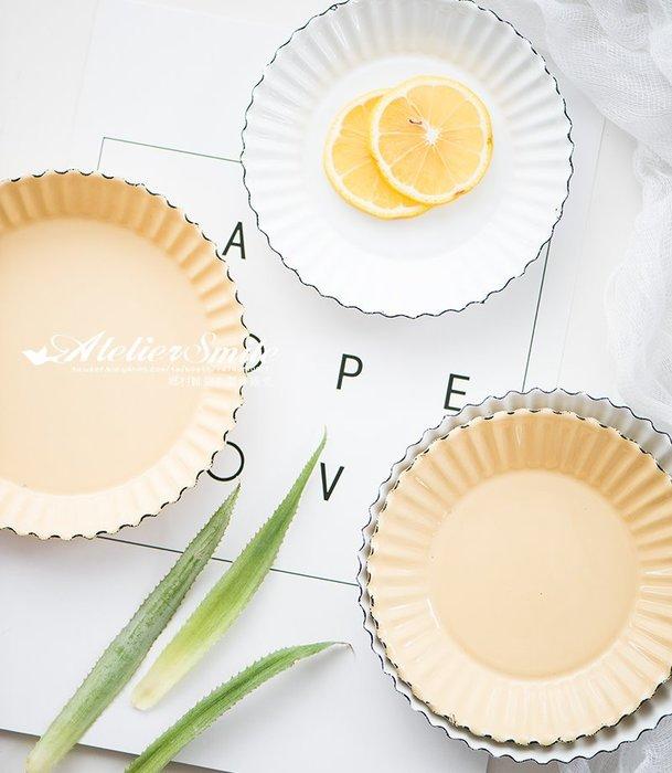 [ Atelier Smile ] 鄉村雜貨 復古作舊 搪瓷 琺瑯 波浪邊 點心盤 蛋糕盤 收納盤 # 14公分