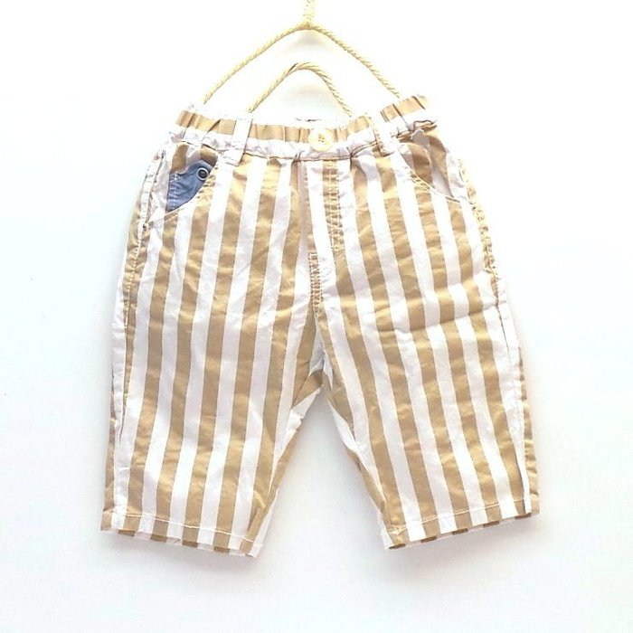 【韓國空運正韓童裝】正韓--直條紋外出褲--卡其色