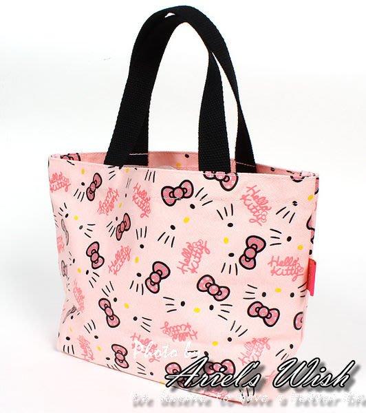 Ariel's Wish-日本限定Hello Kitty粉色底銀色亮粉蝴蝶結凱蒂貓帆布包手提包便當袋外出袋-現貨*1