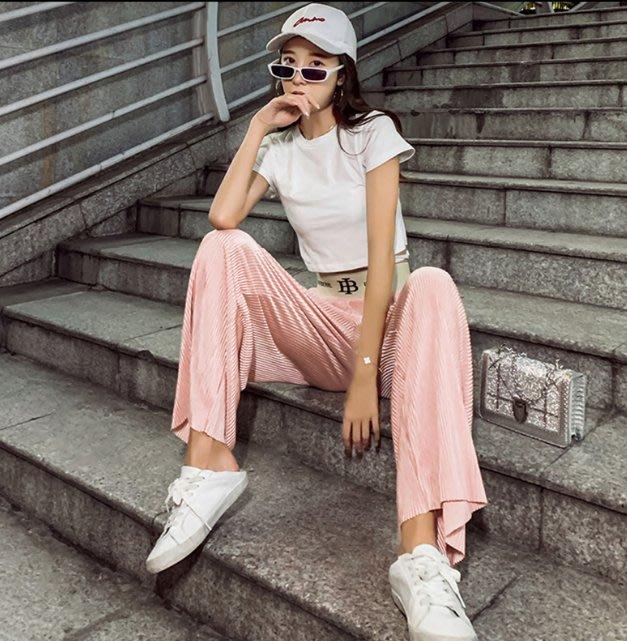 韓版女寬鬆顯瘦鬆緊腰夏季墜感高腰闊腿褲網紅直筒褲休閒拖地褲子