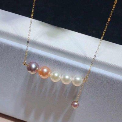 加恩韓版韓式新款18K金天然淡水珍珠圓珠混彩平衡木耳環項鏈套裝首飾12311