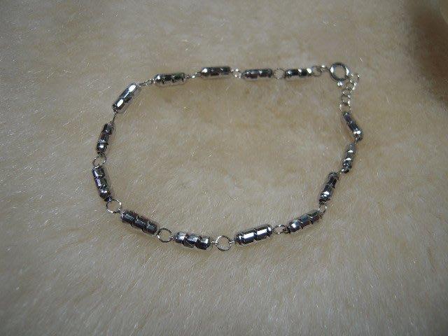 ※水晶玫瑰※ 925純銀刻花長橢圓珠造型手鏈(RD116)