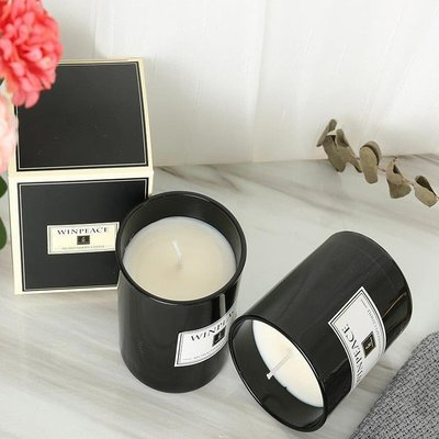 香薰蠟燭【150g】精油無煙黑色玻璃杯大豆香燻蠟燭(無木蓋)