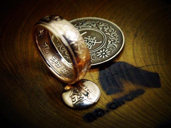 ao.circle 奢扣 手工客製 日本 大正 昭和 年間一 錢 太鼓 招財 發財 尾戒 玫瑰金 色 手工戒指