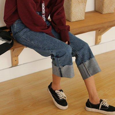 高腰牛仔褲女冬秋BF風寬鬆百搭闊腿褲復古個性超寬捲邊九分褲學生