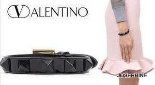 喬瑟芬【VALENTINO】現貨~黑色*1cm漆亮皮鉚釘Rockstud patent leather chunky bracelet 手環