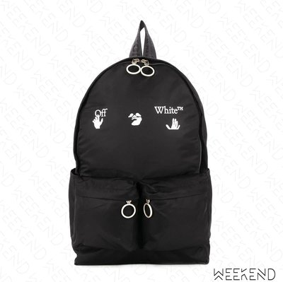 【WEEKEND】 OFF WHITE Logo Quote 後背包 黑色 20秋冬