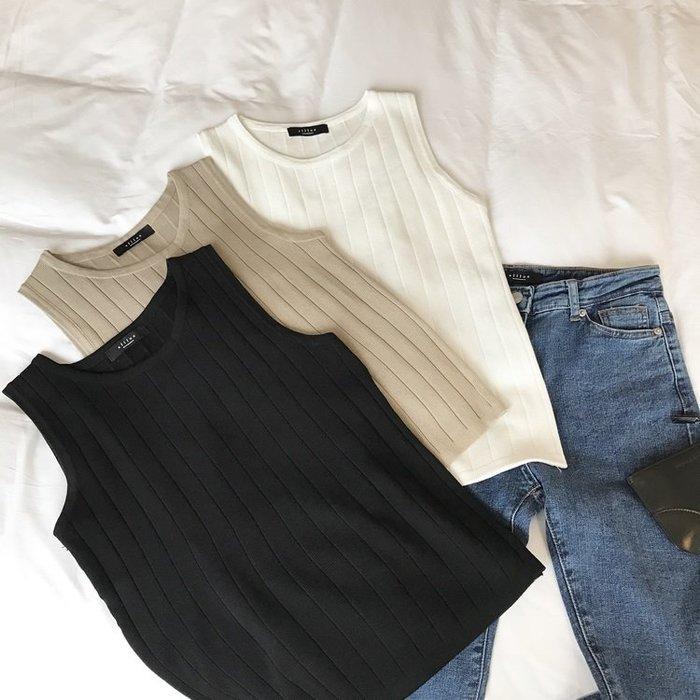 韓國韓系韓版韓風 日系韓版 針織背心外穿女修身無袖上衣顯瘦彈力百搭圓領打底衫t恤