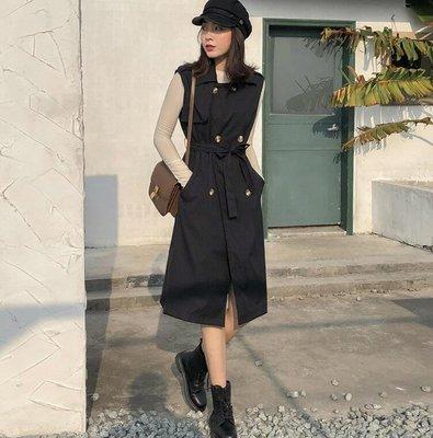 長版風衣外套 馬甲風衣女 韓版複古雙排扣腰帶顯瘦中長款過膝外套 莎芭