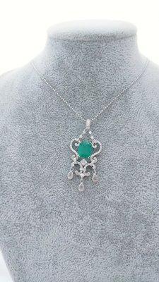 設計款 祖母綠天然極微油1.88克拉18K金鑽石墜子附證書 紅寶石 藍寶石 k金 項鍊 戒指 剛玉 金綠玉貓眼