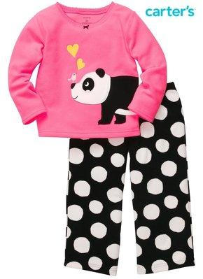 [童心歐美童裝] ㊣ 美國 CARTER S Microfleece刷毛長袖上衣+長褲二件組-貓熊款 , 官網正品