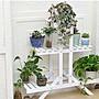 階梯造型鏤空木條設計3層花架 店面商品展示...