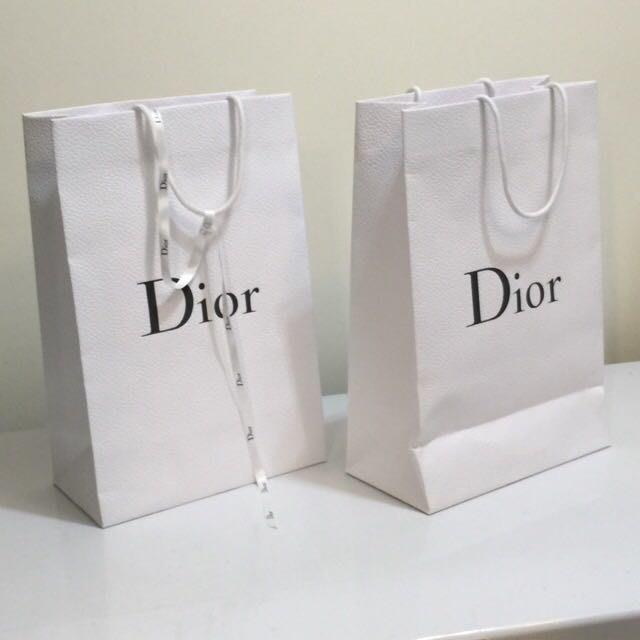 全新Dior 迪奧 專櫃紙袋(大) 緞帶/緞帶大紙袋