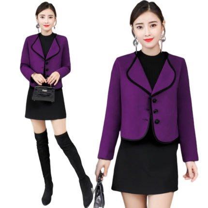 東大門平價鋪  韓版女短款毛呢外套,寬鬆休閒呢子大衣,新款修身顯瘦秋冬季外套