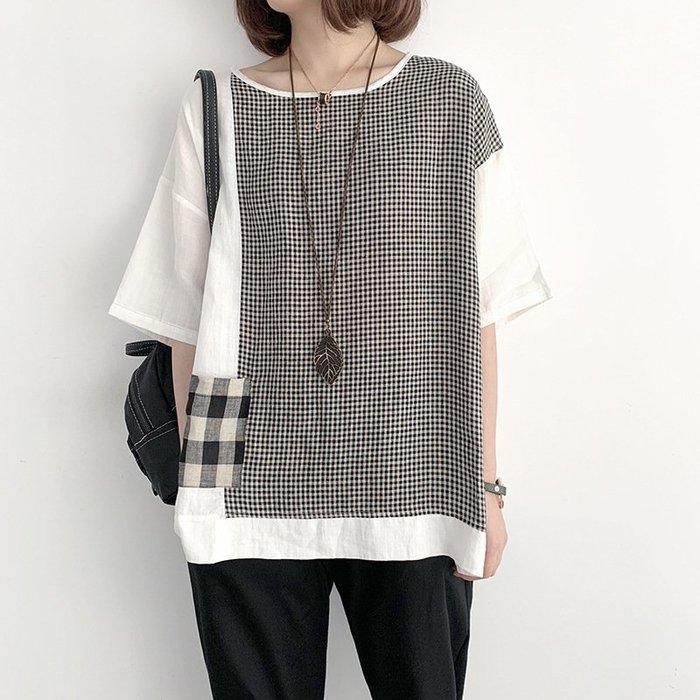寬鬆格紋棉麻拼接五分袖上衣休閒短袖T恤