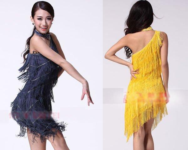 5Cgo【鴿樓】會員有優惠 13826547151 斜肩流蘇性感拉丁舞舞衣 舞裙 舞蹈服 練習裙 比賽裙