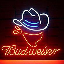 ★美國入口★New Budweiser Cowboy Neon Signage百威啤酒牛仔 霓虹光管招牌 酒吧裝飾(要預訂)
