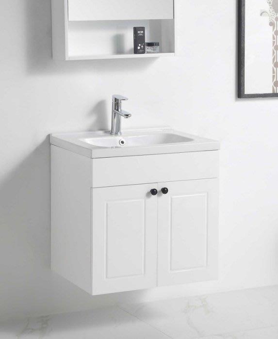 《E&J網》MooE V4-60WH 防水發泡板 浴櫃 + 臉盆 60cm 雙開門櫃 (鄉村黑把手) 詢問另有優惠
