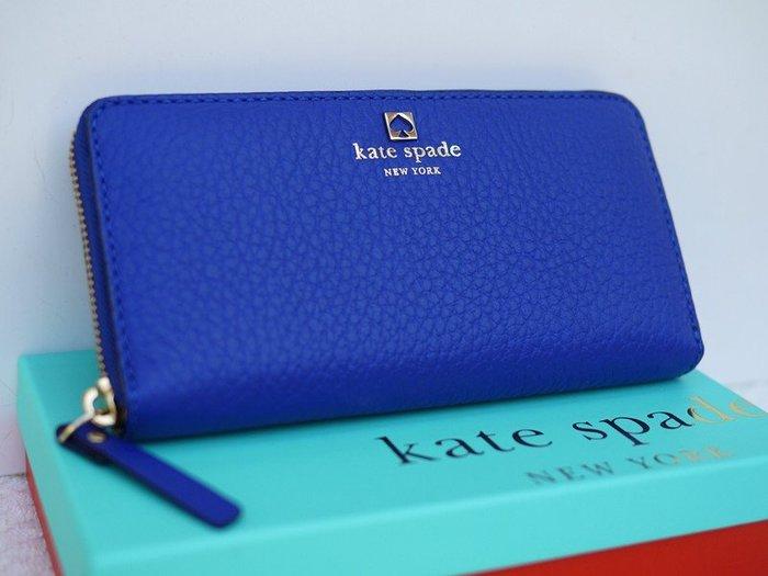 笑笑專屬® Kate Spade SOUTHPORT AVENUE NEDA 寶藍色長款拉鏈錢包 長夾 皮包 現貨!