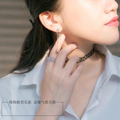 S925銀小圓球鏈條流蘇長款耳環女簡約個性氣質耳飾長耳釘耳墜耳線