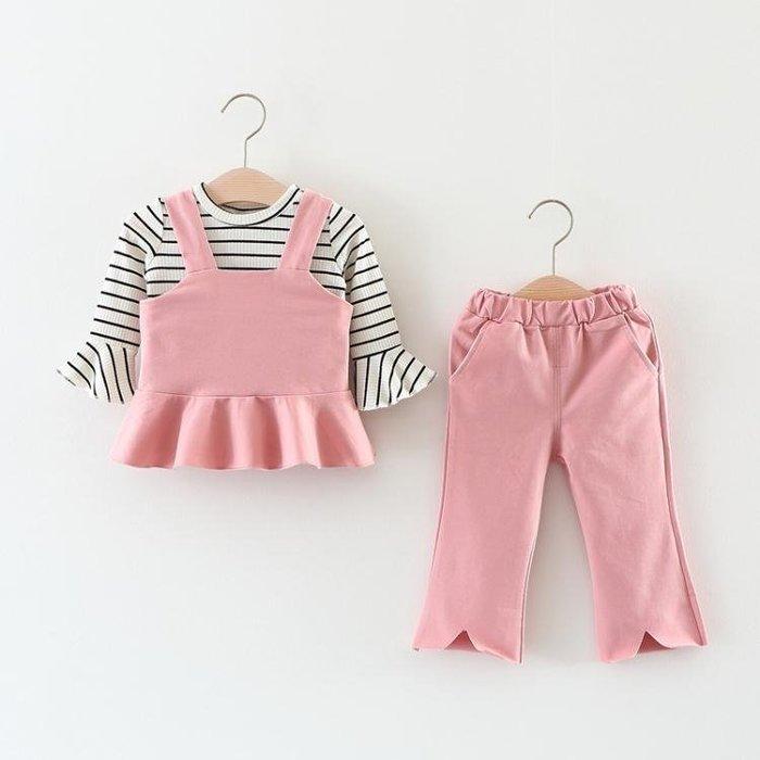 JA 兒童禮服 女童1女寶寶2女嬰兒童裝3歲半秋裝條紋 幼兒韓版三件套裝