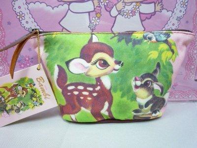 花見雜貨~日本進口全新正版迪士尼小鹿班比化妝包收納包質感佳