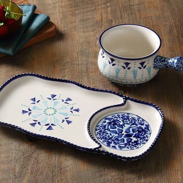 LB  zakka 美式鄉村風 藍百合 陶瓷釉下彩 早餐碗帶手柄把手燕麥 牛奶鍋小泡麵碗 餐盤組 點心盤 棗紅現貨