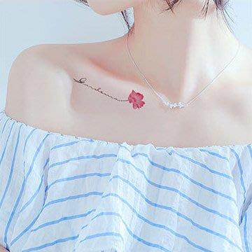 【萌古屋】鎖骨紅花英文 - 男女防水紋身貼紙刺青貼紙 RC-127