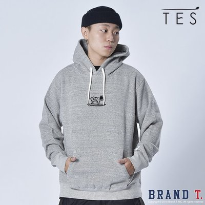 【Brand T】TES BUHI FLOCK HOODIE 灰色*法鬥*狗狗*衝浪板*連帽*T恤*帽T*日本製