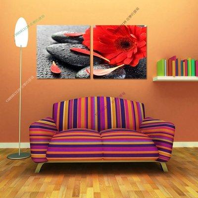 【60*60cm】【厚0.9cm】浪漫紅花雙拼-無框畫裝飾畫版畫客廳簡約家居餐廳臥室【280101_371】(1套價格)