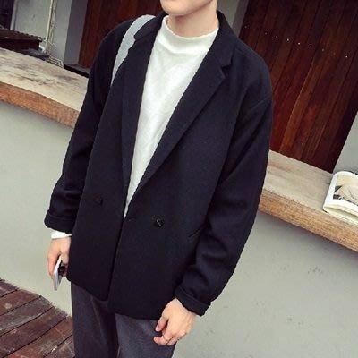 毛呢外套 短款大衣-文藝複古西裝領男外套3色72e50[獨家進口][米蘭精品]