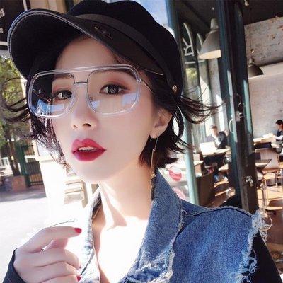 網紅眼鏡透明平光鏡男女正韓潮大框眼鏡框方形