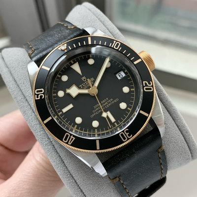 (已交流)TUDOR 帝舵 79733 BLACK BAY S&G 半金皮帶款 潛水錶 盒單齊全 2018保卡