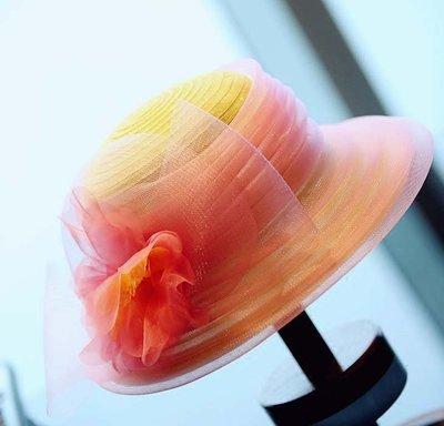 【小p包鋪】藝術品美帽 黃色加粉色搭配大花精緻優雅春夏美輪美奐遮陽凹造型帽
